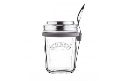 英國【KILNER】BREAKFAST JAR WITH YOGURT SPOON 早餐杯含優格湯匙 350ML